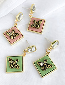 Fashion Khaki Alloy Resin Square Bee Studs