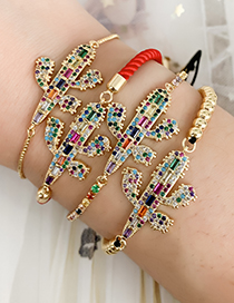 Fashion Golden Cubic Zircon Cactus Bracelet
