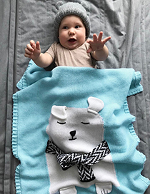 Fashion Gray Bear Pattern Decorated Blanket