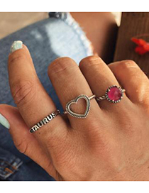 Fashion Silver Color Heart Shape Decorated Rings(3pcs)