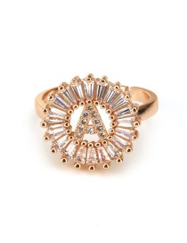 Fashion Rose Gold Letter A Shape Decorated Ring