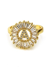 Fashion Gold Color Letter A Shape Decorated Ring