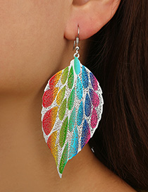 Fashion Multi-color Leaf Shape Decorated Earrings