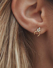 Fashion Gold Color Diamond Decorated Pure Color Earrings