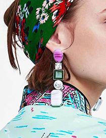 Fashion Blue Geometric Shape Diamond Decorated Earrings