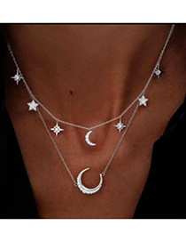 Fashion Silver Color Moon&star Decorated Pure Color Necklace