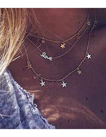 Fashion Gold Color Star Shape Pendant Decorated Choker