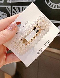 Fashion Champagne Alloy Resin Crystal Square Hair Clip