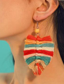 Fashion White Alloy Wire Tassel Earrings