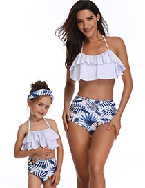 Fashion Adults Are Yellow And White Printed High-waist Ruffled Parent-child Swimsuit