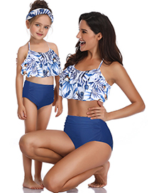 Fashion Adults On Black Flowers Printed High Waist Parent-child Swimsuit