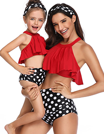 Fashion Adult Red Collar Flying Edge Parent-child Swimsuit