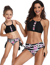 Fashion Children's Swimsuit Printed Pleated Parent-child Swimsuit