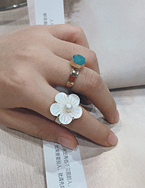 Fashion Red Alloy Diamond Natural Stone Ring
