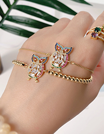 Fashion Gold Copper Inlay Zircon Beaded Owl Bracelet