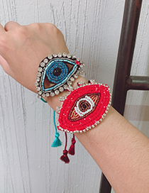 Fashion Blue Sequins Mizhu Felt Cloth Glasses Bracelet