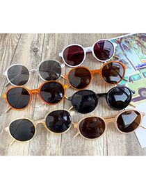 Fashion Transparent Yellow Round Resin Sunglasses