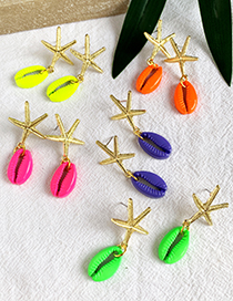 Fashion Fluorescent Green Alloy Shell Starfish Earrings