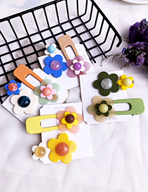 Fashion Yellow Alloy Resin Flower Duckbill Hairpin