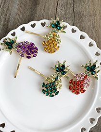 Fashion Green Alloy Diamond-encrusted Pineapple Hairpin