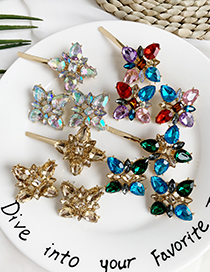 Fashion Green + Blue Alloy Diamond Drop Water Square Hairpin