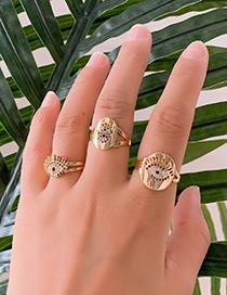 Fashion Gold Copper Inlay Zircon Eye Ring