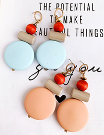 Fashion Blue Alloy Resin Round Earrings