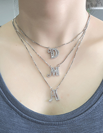 Fashion A Silver Copper Inlaid Zircon Letter Necklace
