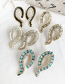 Fashion White Alloy Studded Geometric Earrings