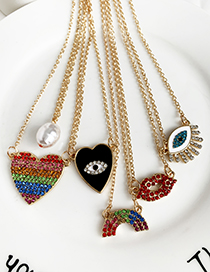 Fashion Color Alloy Diamond Love Necklace