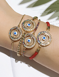 Fashion Red Copper Inlaid Zircon Braided Rope Openwork Eye Bracelet