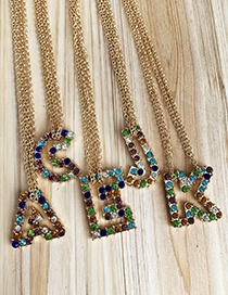 Fashion Letter C Alloy Diamond Alphabet Necklace