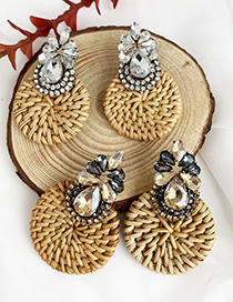 Fashion Champagne Alloy-studded Wood Rattan Woven Round Drop Earrings