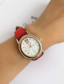 Fashion Navy Blue Pu Skin Alloy Oval Watch
