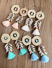 Fashion Blue Alloy Rattan Shell Cotton Thread Tassel Earrings