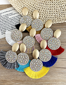 Fashion Ginger Yellow Alloy-encrusted Round Tassel Earrings