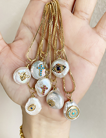 Fashion Gold Copper Inlaid Zircon Eye Shell Necklace