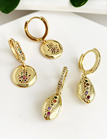 Fashion Gold Copper Inlaid Zircon Round Palm Stud Earrings