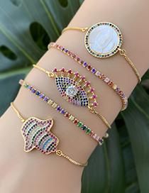 Fashion Gold Copper Inlaid Zircon Beaded Eye Bracelet