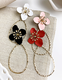 Fashion White Alloy Water Drop Shape Flower Earrings