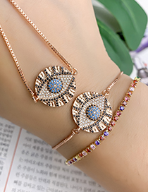 Fashion Rose Gold Copper Inlay Zircon Eye Necklace