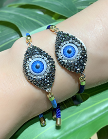 Fashion Navy Copper Inlaid Zircon Braided Rope Eye Bracelet