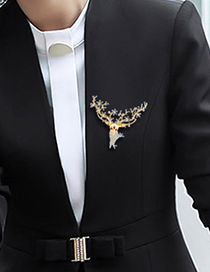 Fashion Blue Alloy Diamond Christmas Deer Brooch