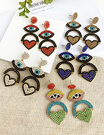 Fashion Champagne Alloy Diamond Eye Love Earrings