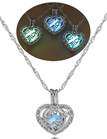 Fashion Blue Green Peach Heart Mom Hollow Heart Mom Night Bead Necklace