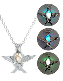 Fashion Blue Green Openwork Can Open The Cage Luminous Necklace