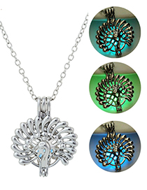 Fashion Blue Green Peacock Opening Necklace