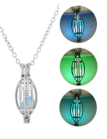 Fashion Blue Green Hollow Geometric Oval Luminous Necklace