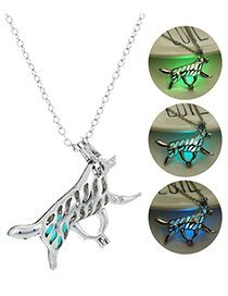 Fashion Blue Green Hollow Collie Necklace