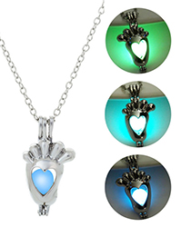 Fashion Blue Green Luminous Open The Footprint Necklace